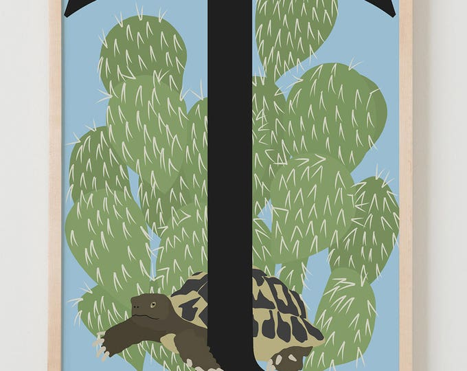 Animal Alphabet, T is for Tortoise Fine Art Print