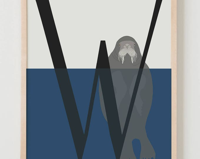 Animal Alphabet, W is for Walrus Fine Art Print