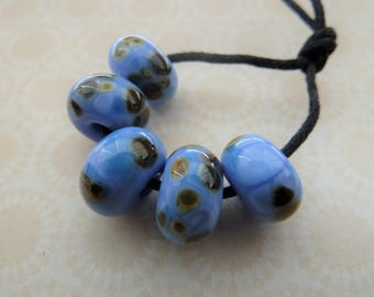 handmade lampwork glass beads, blue frit set UK