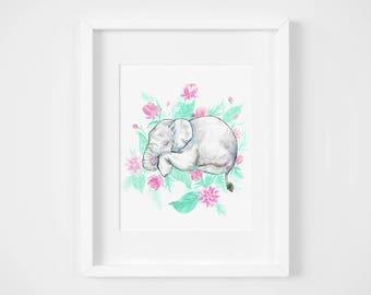 sleeping baby elephant jungle watercolor illustration art print | gifts for babies, girls, nursery