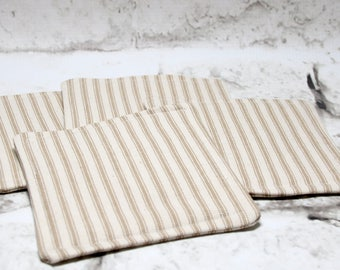 Brown Ticking Coasters, Set of 4