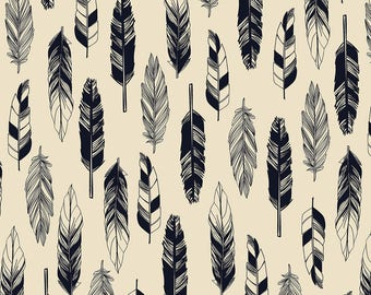 Snuggle Flannel Fabric - Black White Feathers - 1 1/3 Yard