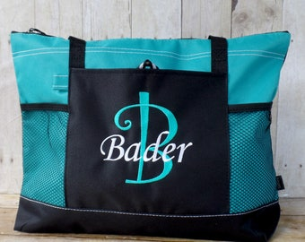 Large tote monogrammed with intial and name, personalized tote with name, extra large beach bag, tote bag, zippered bag