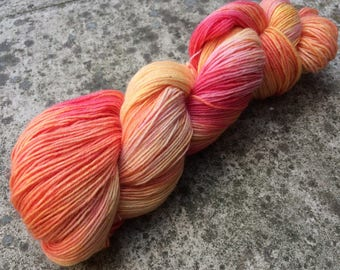 "Hand Dyed 4ply Sock Yarn ""Peaches""  100g 420m 75/25 One Of A Kind"