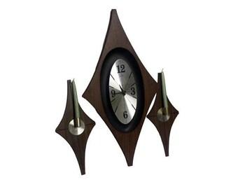 Vintage Wall Clock & Sconce Set Mid Century Modern Welby Danish Modern