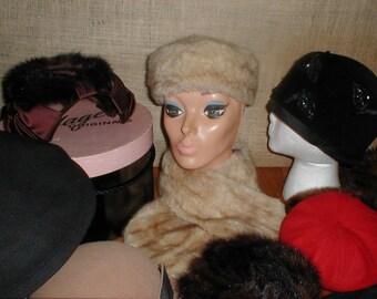 Hats Mink Fur Felt Collar Stolle Vintage Winter Lot