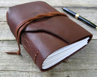 """Leather journal, """"We grow not older with the years, but newer every day"""", Emily Dickinson quote,  320 pages , rustic journal , notebook"""