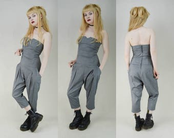 90s Grey Slouchy Strapless Baggy Jumpsuit Romper S