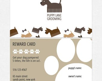 dog grooming - dog walking loyalty cards - thick - FREE UPS ground shipping