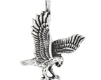 Sterling Silver Eagle Charm Pendant (3d Charm)