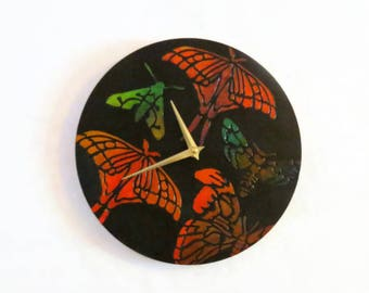 Unique Wall Clock, Butterfly Wall Clocks, Gift For Her, Joseph's Coat Art, Home and Living, Home Decor. Decor and Housewares