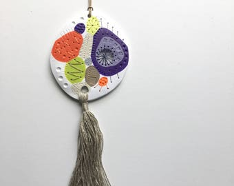 WEIRDLINGS polymer clay wall hanging orange purple lime green grey