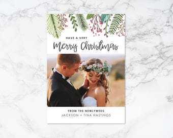 Printable Watercolor Elements Rustic Holiday/Christmas Newlyweds Photo Card
