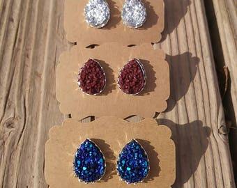 XL Teardrop Druzy Lace Earrings - Druzy Stud Earrings - Druzy Teardrop Earrings - Silver Lace Settings - Luxie Creations