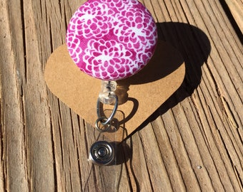 Floral Design Fabric Button Retractable Badge Reel - Floral Badge Holder - Handmade Floral Design Fabric Button ID Holder