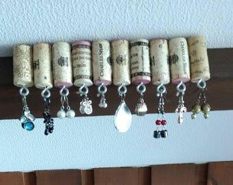 Wine cork earring hanger