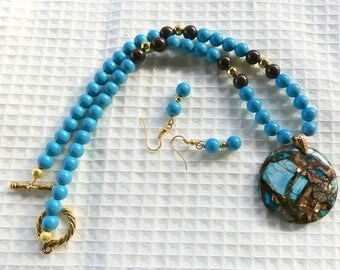 18 Inch Turquoise, Brown and Gold Composite Pendant Necklace with Earrings