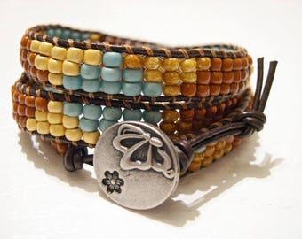 Beaded wrap bracelet,Leather Wrap Bracelet, Triple Wrap, Boho bracelet - 951