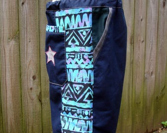 mens patchwork Dude Shorts navy blue hippie tribal six pocket 30 32 34 36 38 40 saved by the bell