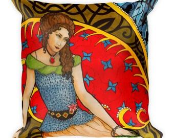 GIRL WITH HANDBAG Square Pillow