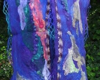 Nuno felted scarf Lightweight scarf Blanket wrap Wool scarf Handmade scarf organic scarf, Large shawl, Felted scarf, Wool shawl, Boho wrap