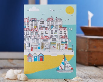Summer by the Sea blank greetings card designed by Jessica Hogarth. Coastal inspired greeting cards designed and printed in the UK. Art Card