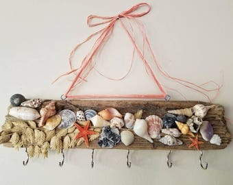 "16"" Driftwood Jewelry/ Key Hanger with Carolina and Florida Shells! OOAK Gift! Beach decor, nautical hanger. Great Christmas gift"