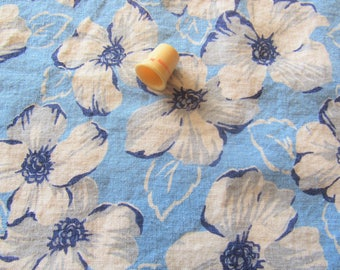 vintage feed sack fabric -- navy, blue and gray floral print