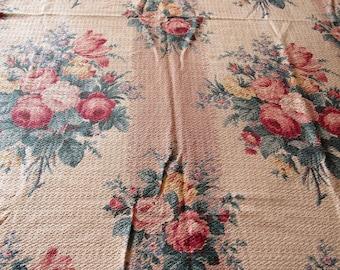 RESERVED -- glencourt floral bouquets vintage cotton barkcloth curtain panels