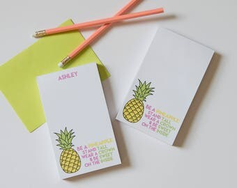 Pineapple Notepad // Personalized Notepad // Available in 2 sizes - 3.4 x 5.75 in \ 5.5 x 8.5 in