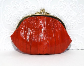 Vintage Red Eel Skin Double Coin Purse 1980s