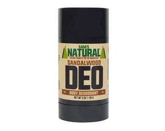 Sam's Natural - Sandalwood Natural Deodorant for Men - Gifts for Men - Natural, Vegan + Cruelty-Free