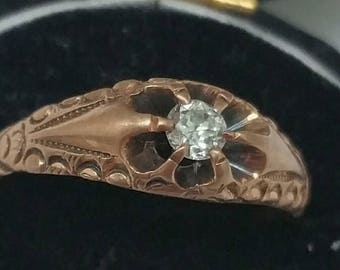 Antique  Victorian  Old European Cut .15ct Diamond Belcher 12k Gold Ring