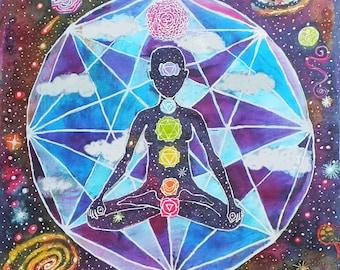 Meditation Chakra Art Print // Rainbow Outer Space Painting // Original Artwork Batik Tapestry // Buddha Yoga Art // Meditation Wall Hanging