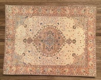 Dollhouse Miniature Room Size Persian Rug, Peace, Scale One Inch