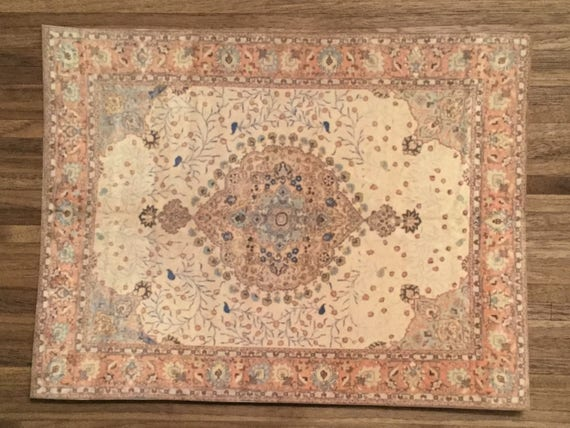 Dollhouse Miniature Persian Rug, Peace, Scale One Inch