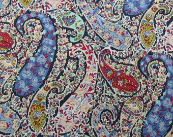 LIBERTY Of LONDON Tana Lawn Cotton Fabric  'Bourton' Blue/Dk Red Paisley Lg Fat Quarter 18X26 in