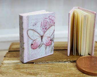Vintage notebook butterfly miniature book 12th scale