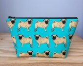 Medium Makeup Bag, Pugs, Brown Pug Bag, Pug Makeup Bag, Pug Cosmetic Bag, Dog Makeup Bag, Dog Cosmetic Bag