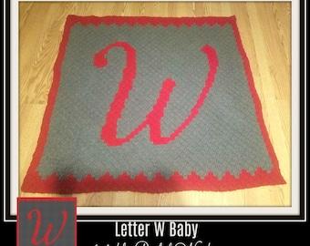 C2C Graph, Letter W, Baby Blanket, C2C Graph, & Written Word Chart