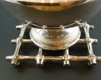 Faux Bamboo Expandable Silver Plated Trivet. Housewarming or Hostess Gift!