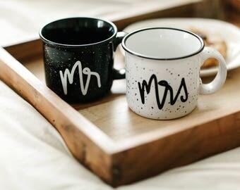 Mr and Mrs Mugs, Wedding Gift, Mr and Mrs Campfire Mug, Camp Mug, Cute Mugs, Newlywed Gift, Couples Mugs, His and Hers Mug. Mr and Mrs Mugs