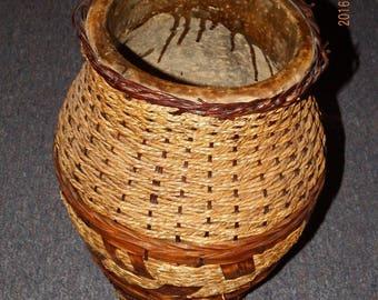 Antique Wicker Floor Vase  Exceptionally Rare, Collectible,