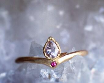 Morganite + Pink Tourmaline Gold Ring