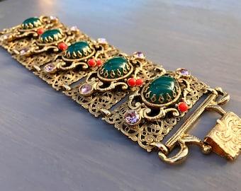 Vintage Selro Bracelet Wide Filigree Panel Rhinestones Rare Jewelry Statement Gift for Her