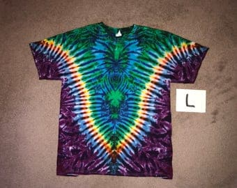 Rainbow/Purple Scrunch V with an Aqua Spider i_8279 in Adult Large