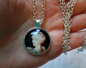 Diana Portrait Pendant Necklace - 1inch (25mm) Glass Dome Cabochon Necklace