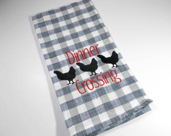Embroidered Towel - Kitchen Towel - Kitchen Chicken Towel - Blue towel - 10 dollar gift - Funny Towel - Funny Kitchen Towel - Kitchen Décor