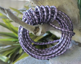 Amethyst Leather Cord Purple Braided Bolo 3MM  2 tone metallic Lace 2 Yard SALE