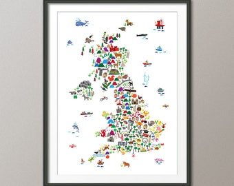 Great Britain Animal Map for children and kids, UK Map, Art Print (2846)
